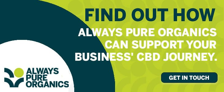 hexo: A banner advert for Always Pure Organics CBD business support