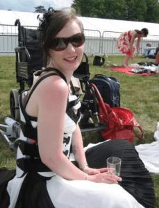 Freya in a brace after breaking her back