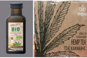 Lidl: A bottle of hemp seed oil and a packet of brown cannabis tea with a drawing of a cannabis leaf on it