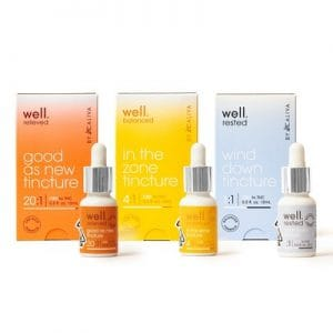 Jay-Z: A line of three bottles of oil in orange, yellow and blue from jay z's new collection on a white background