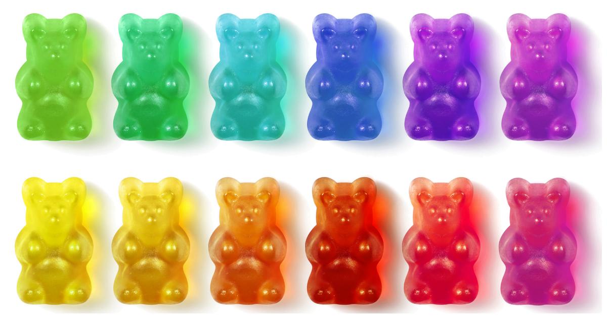 Hawaii: A row of rainbow coloured gummy bears