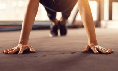 Working out: A person holding their body in the plank position