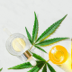 Epidiolex: A cannabis leaf with a yellow bottle of oil beside it