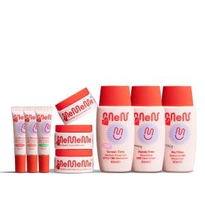 Gen-Z: A group shot of cosmetics together. The packaging is pink and red with a purple logo