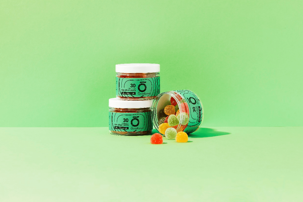 The Good level: Three pots of CBD gummies on a green background