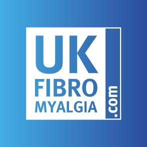 UK Fibromyalgia: A blue and white logo for the charity UK Fibromyalgia