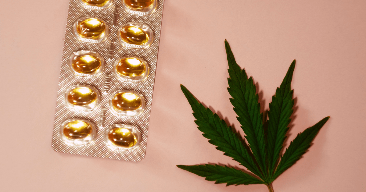 Migraine: A green cannabis leaf next to a blister packet of cannabis capsules on a salmon pink background