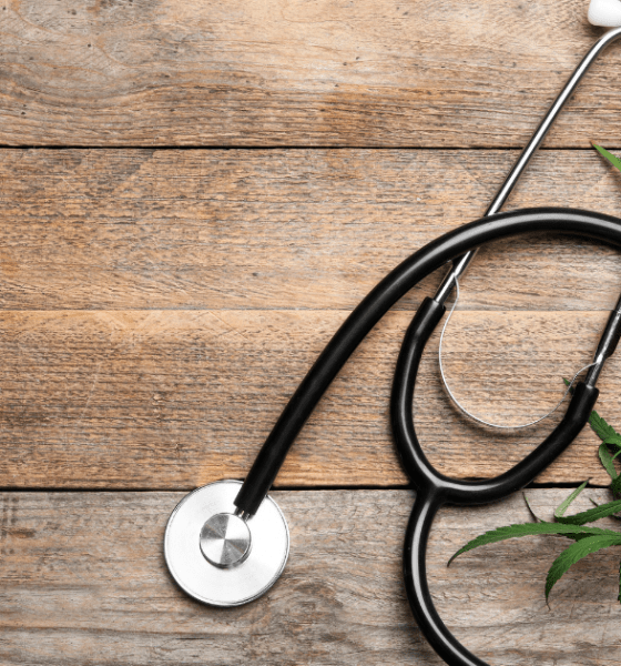 Fibromyalgia: A stethoscope on a wooden surface surrounded by cannabis leaves