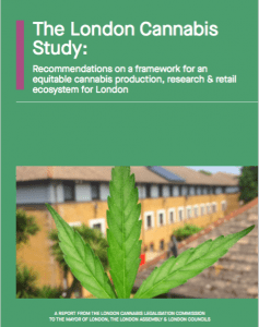 London: The front page of the report on legal cannabis for London