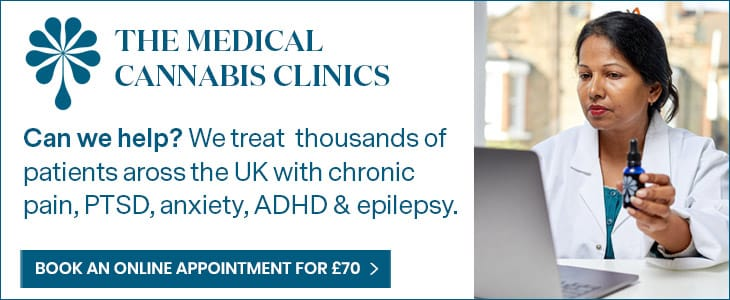 Depression: A banner advert for the medical cannabis clincs featuring a doctor in a white lab coat