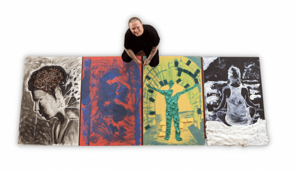 Art: four pieces of art created by the artist who sits to the top centre of all four