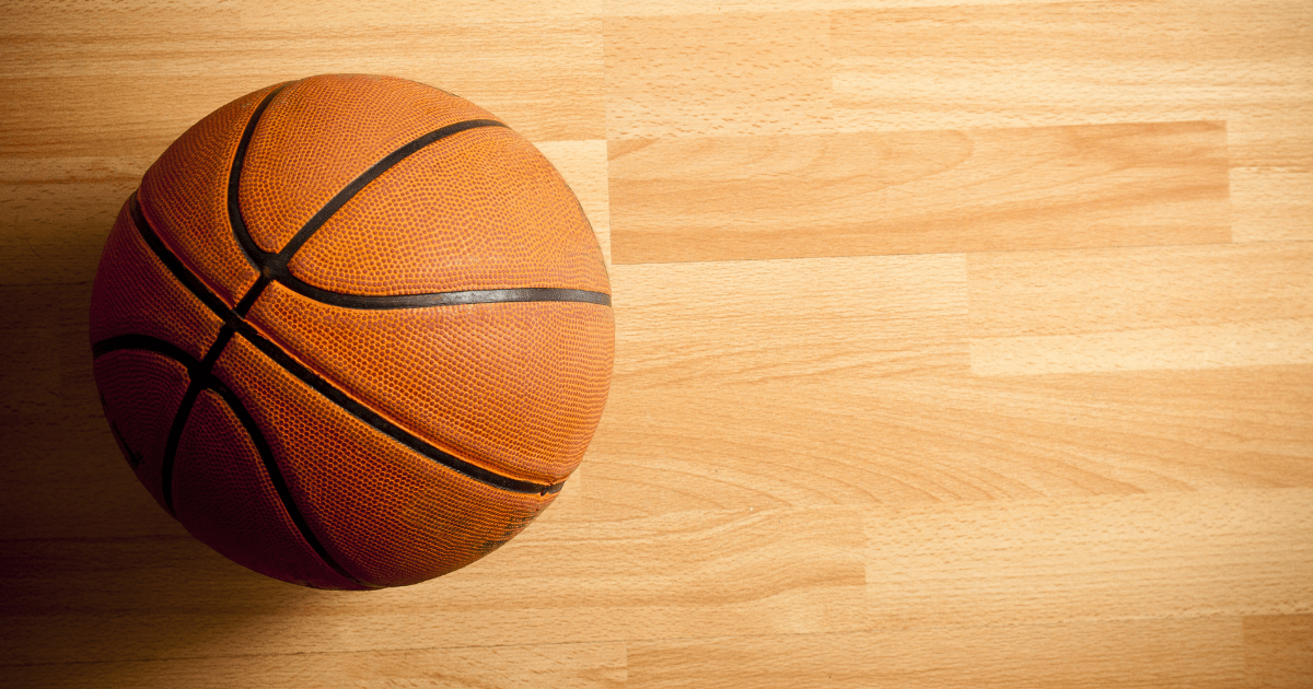 NBA: an orange basketball standing still on the court