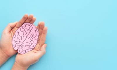 Schizophrenia: Two hands holding a pink paper brain