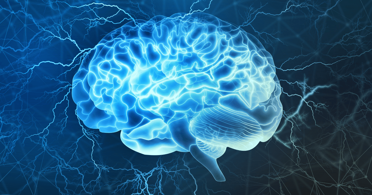 Dystonia: A blue brain lit up by a blue light to highlight parkinsons disease