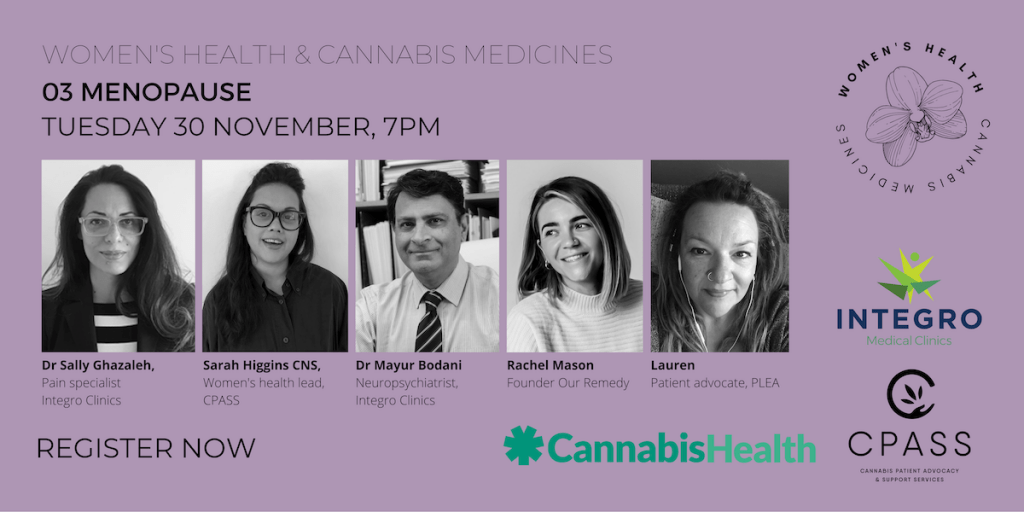 Menopause: An event image advertising a panel discussion around women's cannabis and menopause